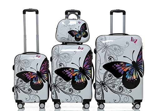 Polycarbonat Hartschale Koffer 2060 Trolley Reisekoffer Reisekofferset Beutycase 3er oder 4er Set in 12 Motiven (Butterfly)