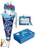 3 tlg. Set: BASTELSET Schultüte - Delfin Fisch 85 cm - incl. Name + Schulbox + Stundenplan - Zuckertüte Roth - Mädchen Jungen Fische Delfine Unterwasser blau ..