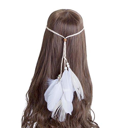 Boho Feder Stirnband Hippie Kopfschmuck - AWAYTR Feder Haarband Gürtel Frau Feuer Party Haar Zubehör Quasten Haar Band (Feuer Frau Halloween Kostüm)