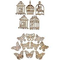 Sharplace 60pcs Piezas de Madera Birdcase y Mariposa DIY Arte de Costuras Scrapbooking Gran Manualidad