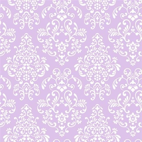 York Wallcoverings Just Kids KD1756 Delicate Document Damask Wallpaper, Purple by York Wallcoverings