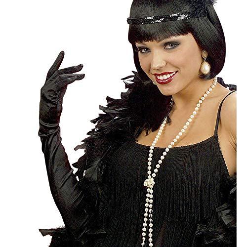 WIDMANN Algodón Negro Guantes Plumas 60cm Disfraces
