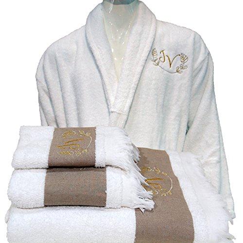 5stelle di alta qualità hotel edition personalizzata bianco set accappatoio, teli da bagno–ref. lino, 100% cotone, white, large