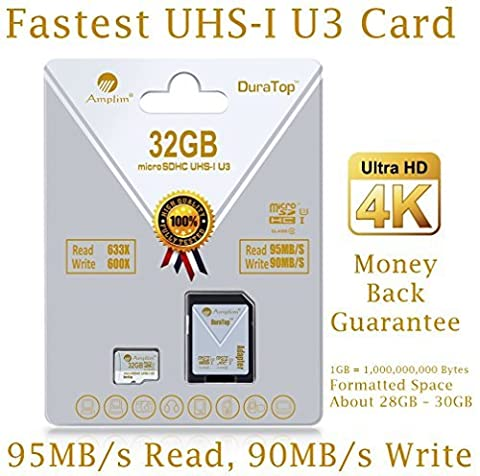 32GB Micro SDHC U3 Card Plus SD Adapter Pack. Amplim