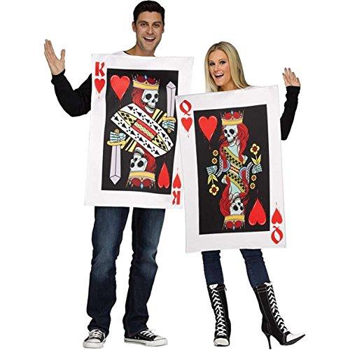 g und Herz-Königin Pärchen-Kostüm Spielkarten Weiss-Rot-Schwarz M / L (Rote Und Weiße Königin Kostüme)