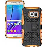 Galaxy S7 Edge Case - Exact [TANK Series] - Shock Proof Tough Rugged Dual-Layer Case with Built-in Kickstand for Samsung Galaxy S7 Edge (2016) Black/Orange