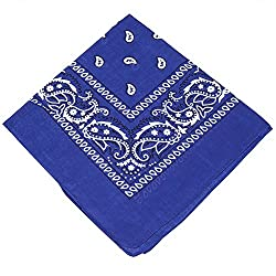 3 x Men's / Women's / Children's Paisley Pattern Bandana Head / Neck Scarf / Neckerchief / Handkerchief / Head Tie 100% Cotton (Royal Blue,Orange & Lilac)