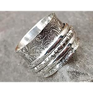 Spinner Band Rings, Anxiety Ring for Meditaion, Gift Ring for Mother's Day, 925 Sterling Silver Spinner Band Rings for Women