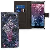 kwmobile Hülle für Xiaomi Redmi Note 4 / Note 4X - Wallet Case Handy Schutzhülle Kunstleder - Handycover Klapphülle mit Kartenfach und Ständer Elefant Zentangle Design Pink Anthrazit