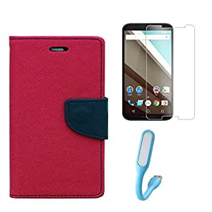 Xiaomi Redmi Mi2 Combo Pack Of Flip Cover By Online Street (Pink + Tempered Glass + USB Light)