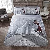 Just Contempo Juego de funda de edredón de oso polar de Navidad, White Bear, matrimonio