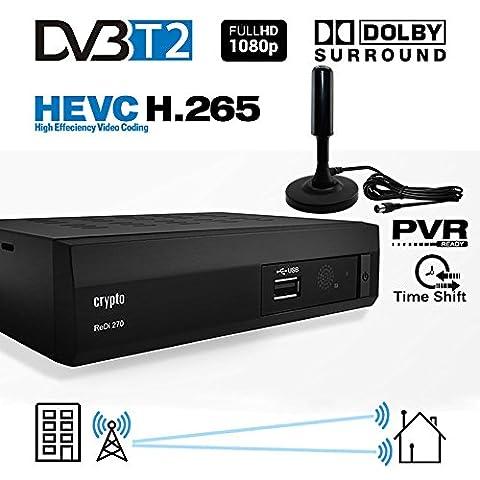 Crypto Redi 270PA 1080P Full HD 1080P DVB-T2 HEVC H.265 décodeur tnt hd avec Dolby Full Multimédia Lecteur H.265 / MPEG-2/4