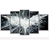 RENHAN 5pièces Moderne Impressions sur Toile Peinture–Abstract Pictures–Batman Jet d'encre décoratifs peintures–Décoration Art Print Poster–Chambre à Coucher Home panoramique Large b