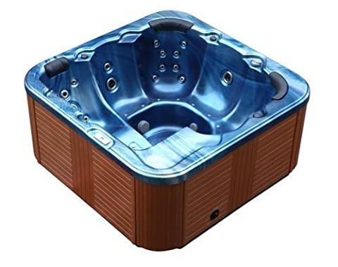 Outdoor Jacuzzi Hot Tub Troja Spa Jakuzzi Color Blue with 44 Massage Nozzles + Heater + Ozone Cleaning + LED lighting for 5 - 6 Persons for Outdoor inexpensive