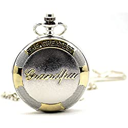 "Jelercy ""The Greatest Grandpa"" Sliver Tones Quartz Roman Numberal Pocket Watch for Grandpa"