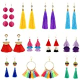 12 Pairs Women/'s Girls Statement Dangle Earrings Red Yellow Blue Colorful Woven Thread Earrings Bohemia Ethnic Weave Raffia Elegant Rattan Drop Earring Set for Women Teens Girls