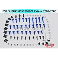 VITCIK Kit Completo de Tornillos y Pernos de Carenado para Suzuki GSX 600 750 F Katana 2005 2006 GSX600 750 F Katana 05 06 Clips de Sujeción en Aluminio CNC de La Motocicleta (Azul & Plata)