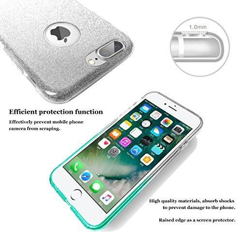 iphone 7 plus case, Hanlesi lucida copertura [bling chiarissimo] [slim fit] 3 strato ibrido con brio premio trasparente tpu custodia per apple iphone 7 Plus 5,5 Inch blu chiaro
