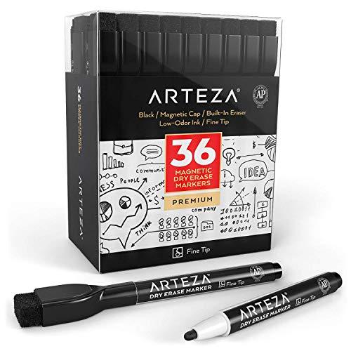 ARTEZA Whiteboard-Marker mit Feiner Spitze | Marker-Set mit 36 Schwarzen Whiteboard-Stiften | Trocken Abwischbar von Magnettafeln | Magnetische Kreidemarker mit Filz-Radierer für Büro oder Schule
