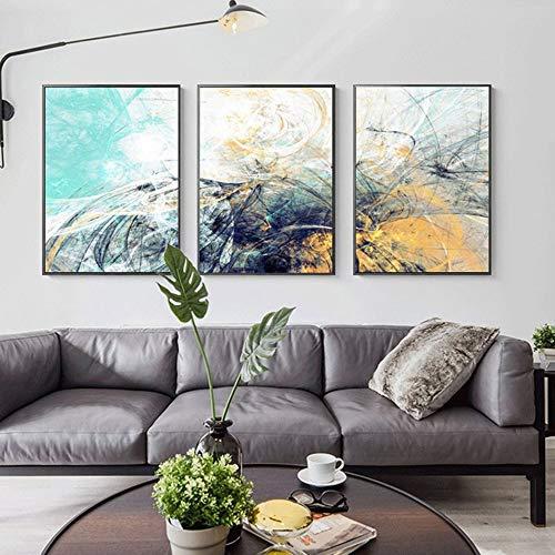 Leinwand Wandbilder 3 Panels Moderne abstrakte Malerei-Grafik Gerahmte Bilder Fertig zum Aufhängen für Wohnzimmer Schlafzimmer Büro Küche Hotel Dekorationen,S - Iii Gerahmt Leinwand
