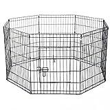 immagine prodotto PawHut - Recinto per Cani Gatti Cuccioli Roditori Recinzione Rete Gabbia 8 Pezzi 61 x 61cm Nero