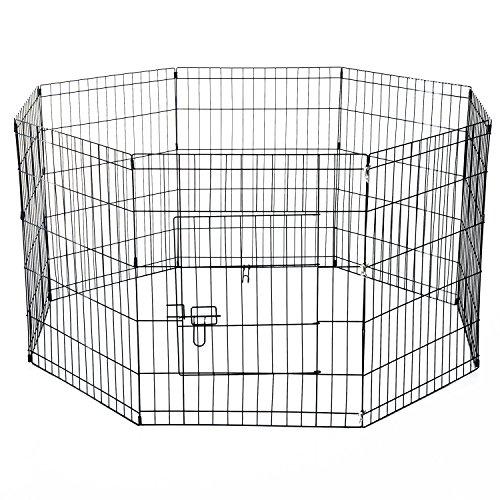 pawhut-recinto-per-cani-gatti-cuccioli-roditori-recinzione-rete-gabbia-8-pezzi-61-x-61cm-nero
