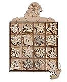 Viva-Haushaltswaren - 48 Weihnachtsbaum- Anhänger / Tannenbaumanhänger / Christbaumschmuck aus Holz (8 verschiedene Designs)
