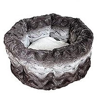 Rosewood 40 Winks Snuggle Plush Pet Bed, Grey/Cream_p