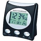 Der WT 221 ist ein klassischer Funkwecker mit Temperaturanzeige und digitaler Uhrzeitanzeige, schwarz - silber