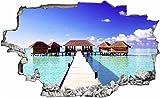 DesFoli Maledivien Strand Meer Steg 3D Look Wandtattoo 70 x 115 cm Wanddurchbruch Wandbild Sticker Aufkleber C026