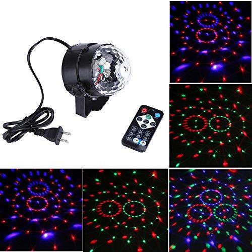 Delaman Fernbedienung 3W Mini Discokugel Bunt LED RGB Bühnenlicht Stimme Aktiviert mit rotierendem Lichteffekt für Disco Party Stage Lichteffekte, EU-Stecker