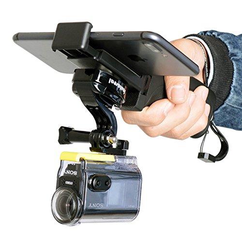 Fantaseal Ergonomic Action Camera Hand Grip Mount w/Smartphone Clip for Sony FDR X-3000V X1000VR HDR AS 300 AS-10/15 /20/30/50/100 /200 AZ-1 Action Cam Nikon Keymission Hand Grip Handheld Holder