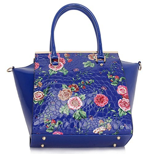 TrendStar Damen Konstrukteur Handtaschenblumen Damen Totebeutel -Art Kunstleder Patent Schulter Blau S1