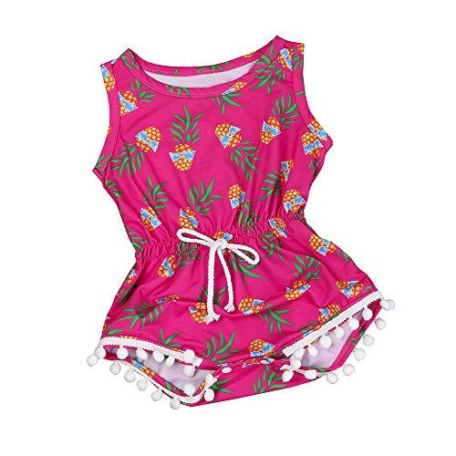 Babykleidung Honestyi Neugeborenes Kleinkind Kinder Baby Mädchen Druck Strampler Overall Sunsuit Kleidung Set (Pink,100)
