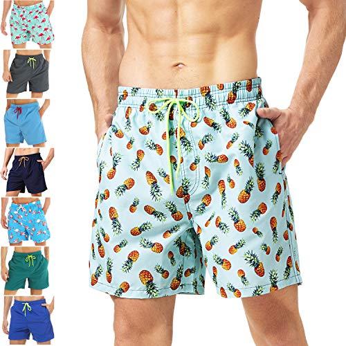 coskefy Badeshorts für männer Jungen Badehose Schwimmhose Schnelltrocknend Kurz Beachshorts Boardshorts Strand Shorts Sporthose mit Mesh-Futter Tunnelzug(Blaugrün-Ananas,XS(EU)-MarkeGröße M) (Shorts Gelb Kinder Mesh)