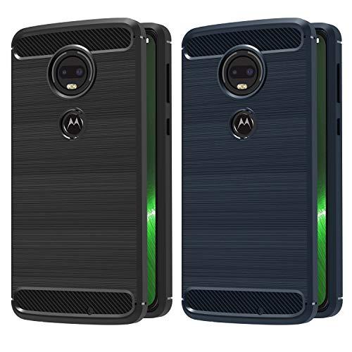 iVoler [2 Stücke] Hülle Kompatibel für Motorola Moto G7 / Motorola Moto G7 Plus, Carbon Faser Case Tasche Schutzhülle mit Stoßdämpfung Soft Flex TPU Silikon Handyhülle - (Schwarz+Blau)