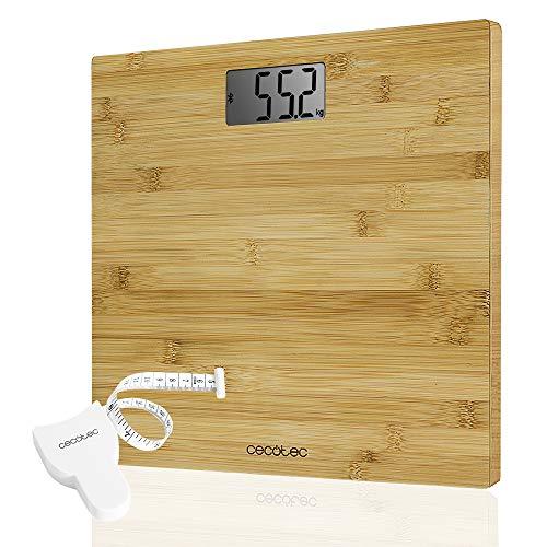 Báscula de baño digital de alta precisión. Con plataforma resistente y ligera de bambú con certificación eco-friendly, pantalla LCD y capacidad máxima de 180kgr. Lista para usar y con cinta métrica.
