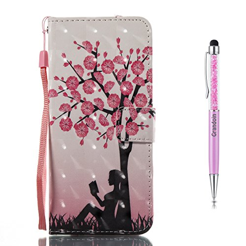Galaxy A5 2017 Hülle,Grandoin Handyhülle im Brieftasche-Stil für Samsung Galaxy A5 2017 Handytasche PU Leder Flip Cover 3D Bunte Muster Book Case Schutzhülle Etui Case (Baum) -