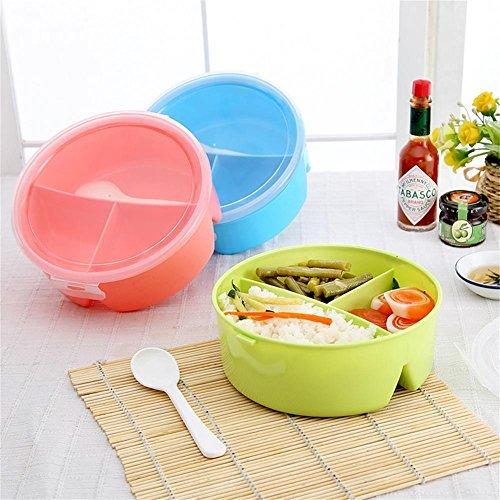 Moocevill - Tragbare Microwavable Runde Brotdosen für Kinder mit 3 Partition Grids Picknick Bento Nahrungsmittelbehälter-Speicher mit Löffel [Random]