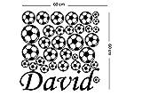 Personalisierte Wandaufkleber. Name des Kindes, viele Bälle. Wandaufkleber mit dem Namen eines Kindes. Fußball - Wanddekoration. Dekoration für ein Kinderzimmer. Aufkleber mit Bällen.