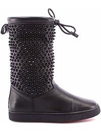 Christian Louboutin Womens Short Boot SURLAPONY FLAT NAPPA/SHEARL/SPIKES B017 BK/BLACK/BK