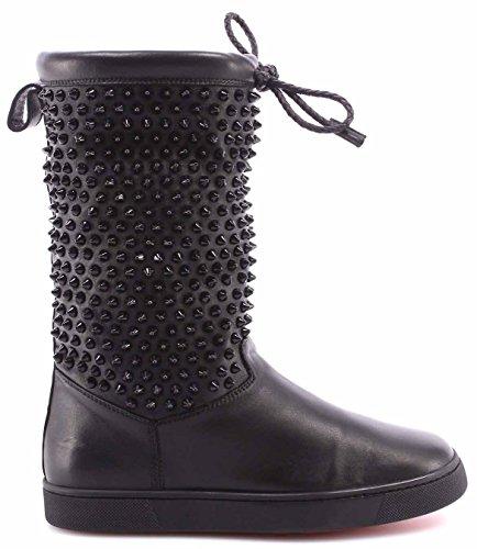 bottes-courtes-femme-christian-louboutin-surlapony-flat-nappa-shearl-spikes-b017-bk-black-bk