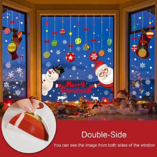 Tuopuda Natale Adesivi Sticker Natale Vetrofanie Decorativi da Finestra Sticker Murali da Parete Addobbi Adesivi Decorazione Finestra Vetrina Pupazzo