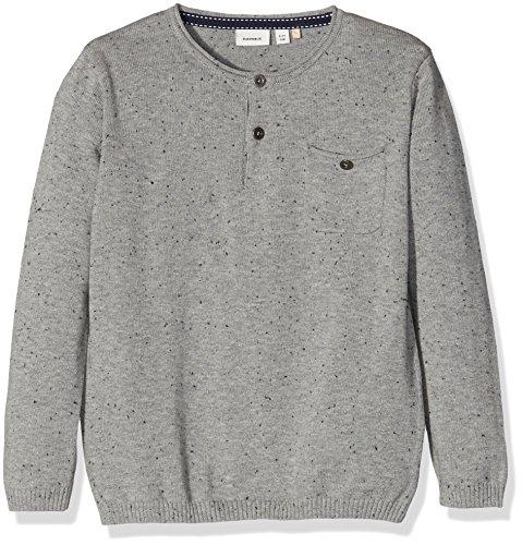 NAME IT Jungen Langarmshirt Nitsinis LS Knit Top Nmt, Grau (Grey Melange), 152 (Herstellergröße: 146-152) (Knit Henley Top)