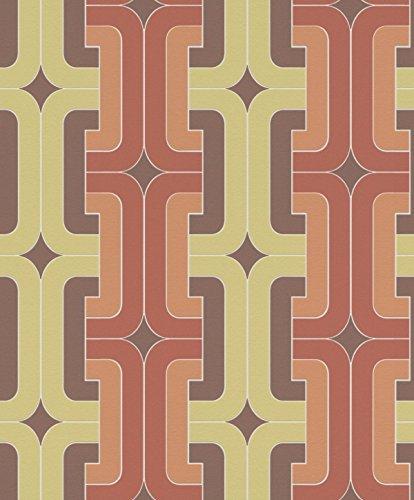 Rasch Vlies Tapete - Größe: 0,53 x 10,05 m - Farbe: gelb, orange, braun - Stil: Muster & Motive (modern)