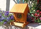 Vogelhaus BEL0--X-VOFU1K-dbraun001 NEU PREMIUM Vogelhaus, Qualität Schreinerware 100% Massivholz - VOGELFUTTERHAUS MIT FUTTERSCHACHT-Futtersilo Futterstation Farbe braun dunkelbraun behandelt / lasiert schokobraun rustikal klassisch, Ausführung Naturholz, mit KLARSICHT-Scheibe zur Füllstandkontrolle
