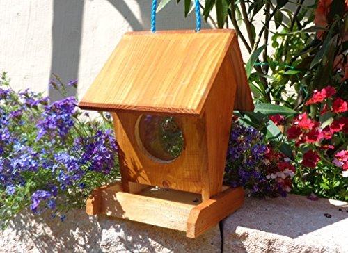 Vogelhaus,vogelhäuschen,Futterhäuschen,K0--VOFU1K-dbraun001 NEU PREMIUM Vogelhaus, Qualität Schreinerware 100% Massivholz - VOGELFUTTERHAUS MIT FUTTERSCHACHT-Futtersilo Futterstation Farbe braun dunkelbraun schokobraun rustikal klassisch, Ausführung Naturholz, mit KLARSICHT-Scheibe zur Füllstandkontrolle