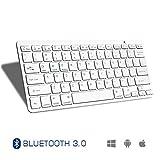 Ultra Thin Bluetooth Keyboard Accevo Universal Wireless Keyboard for iPad Air 2 Air iPad Pro iPad mini 4 3 2 1 iPad 4 3 2 Galaxy Tabs and Other Mobile Devices White White