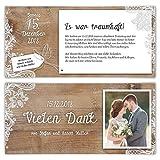 50 x Hochzeit Dankeskarten Danksagungskarten individuell mit Ihrem Text und Foto DIN Lang 99 x 210 mm - Rustikal mit weißer Spitze