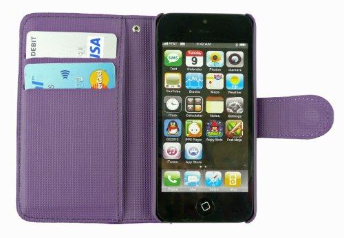 Emartbuy® Schaum Stylus Pack Für Apple Iphone 5 / 5S Luxus EdelsteinbesetZTEs Schwarz Pu-Leder-Desktop-Ständer Case Tasche Hülle Geldbörse Mit Kreditkartensteckplätze + Mini Sparkling Sparkling Schwar Lila